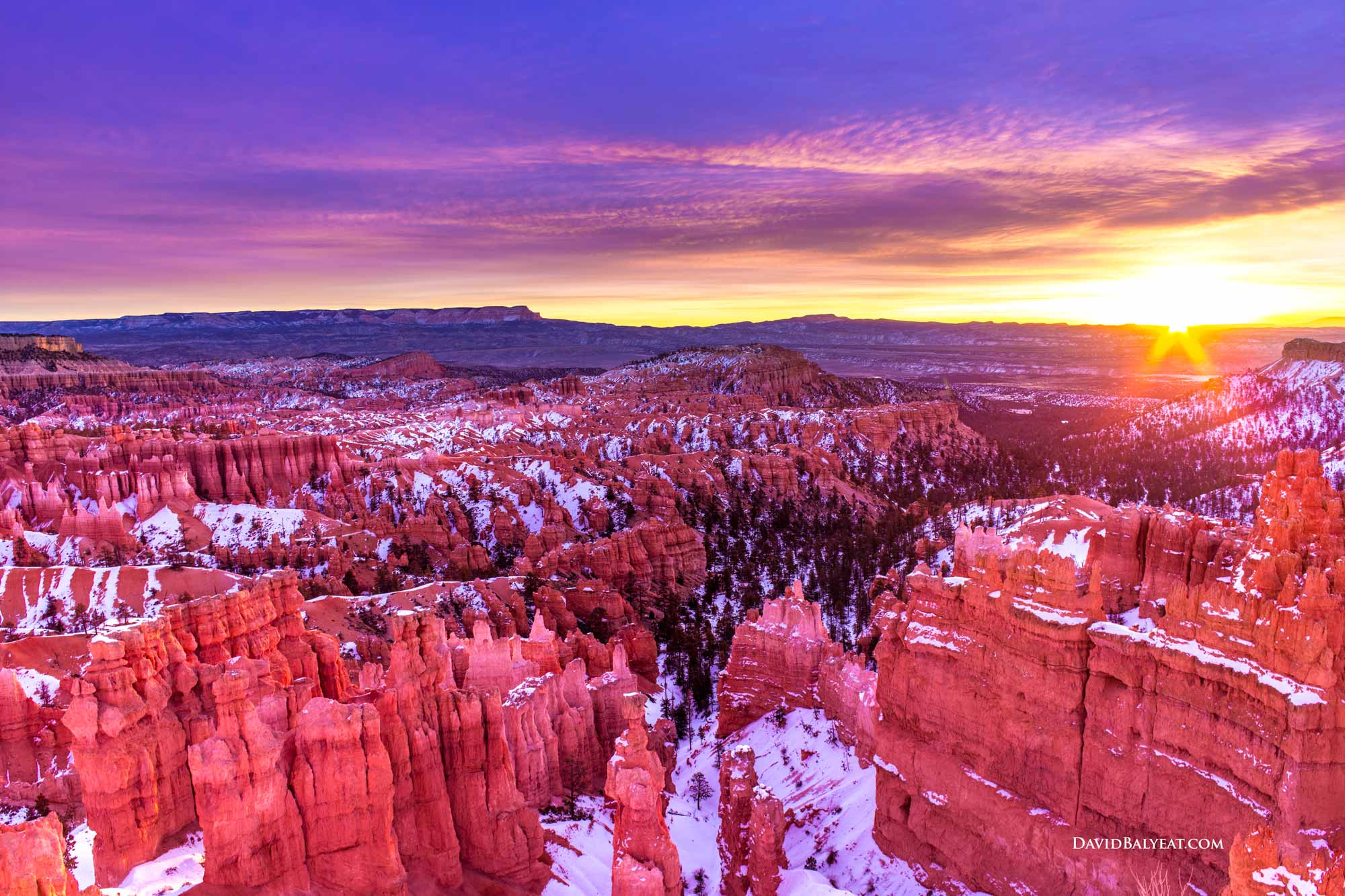 Bryce Canyon sunrise snow glow HD photography