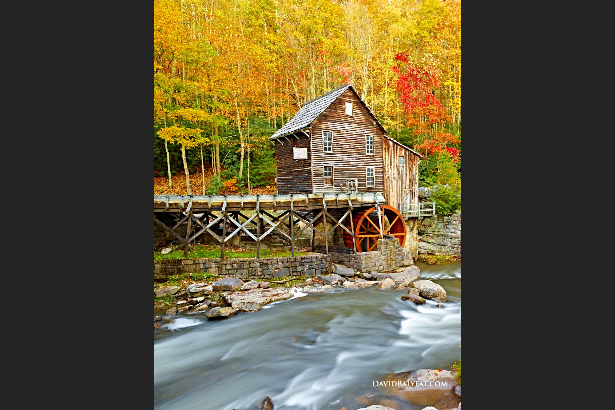 Babcock State Park Fall Foliage Glade Creek Grist Mill West Virginia High Definition HD Photography