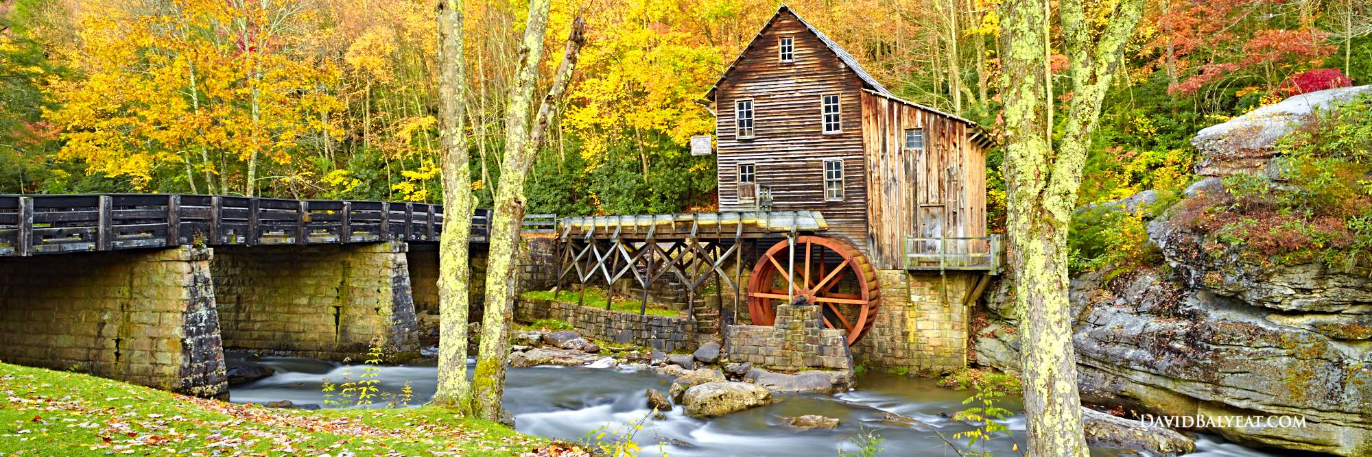Babcock State Park Panoramic Glade Creek Grist Mill Watermill Autumn Fall Foliage High Definition Hd Photography