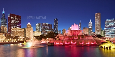 Buckingham Fountain Millennium Park Chicago skyline high-definition HD professional landscape photography