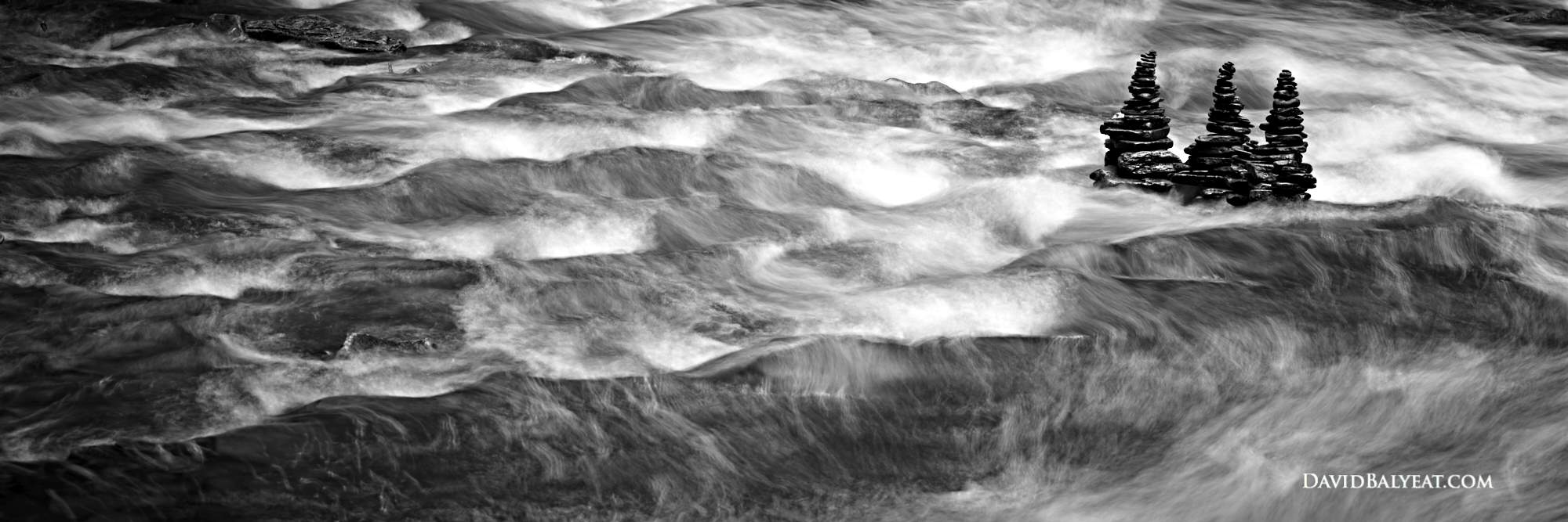 Cairns Black and White panoramic Ricketts Glen State Park Pennsylvania abstract river high definition HD photography