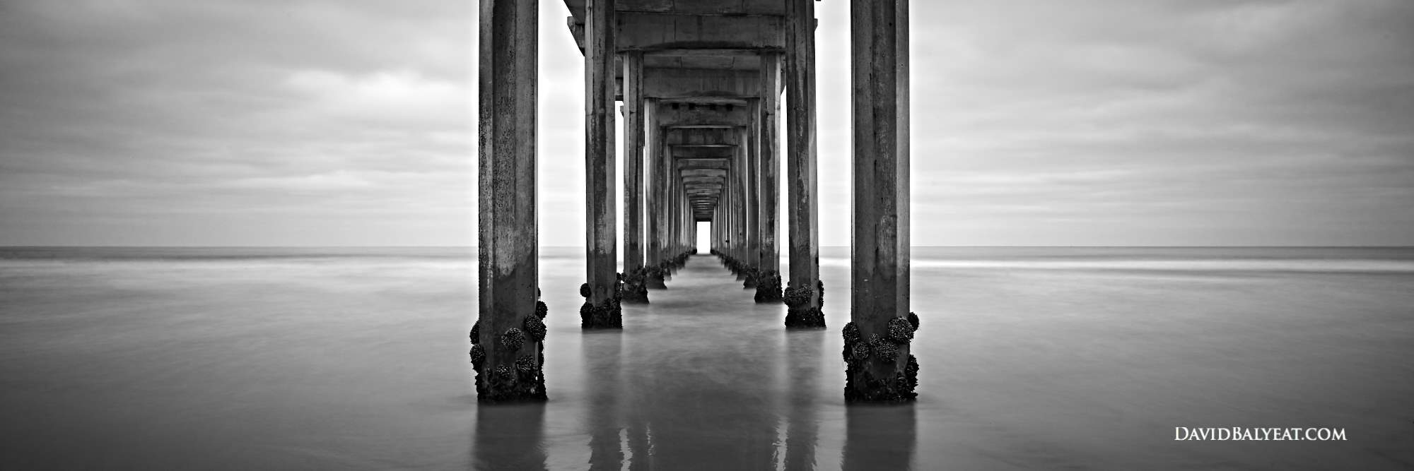 California Scripps Pier La Jolla Panoramic black and white high definition HD professional landscape photography