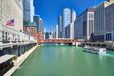 Chicago River ferry train high-definition HD professional landscape photography