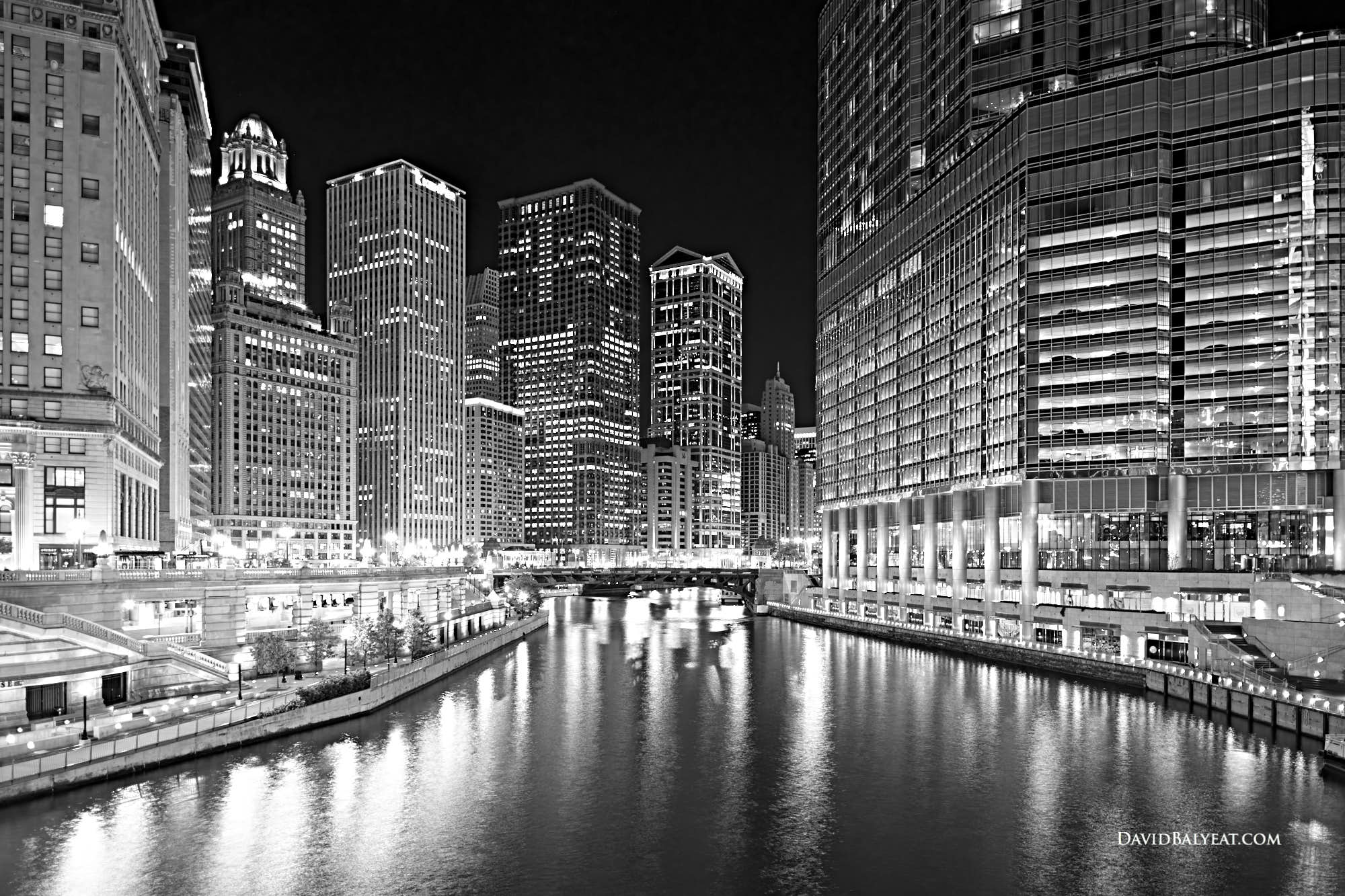 Chicago River Riverwalk skyline black and white high-definition HD professional landscape photography
