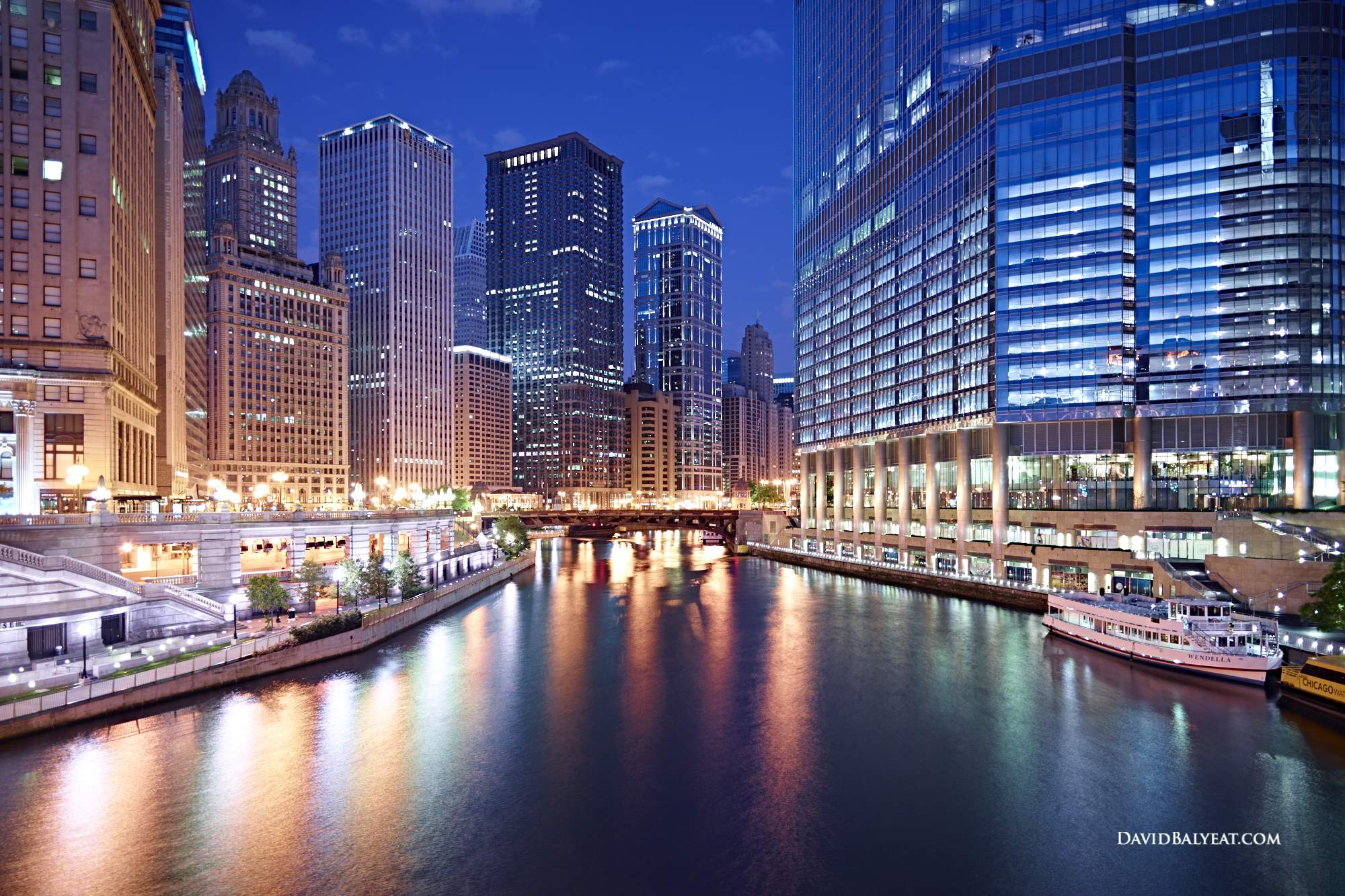 Chicago River skyline dawn reflections high-definition HD professional landscape photography