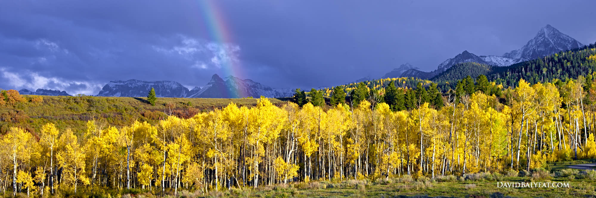End of the Rainbow Aspen trees Colorado Mountain scene high-definition HD professional landscape photography