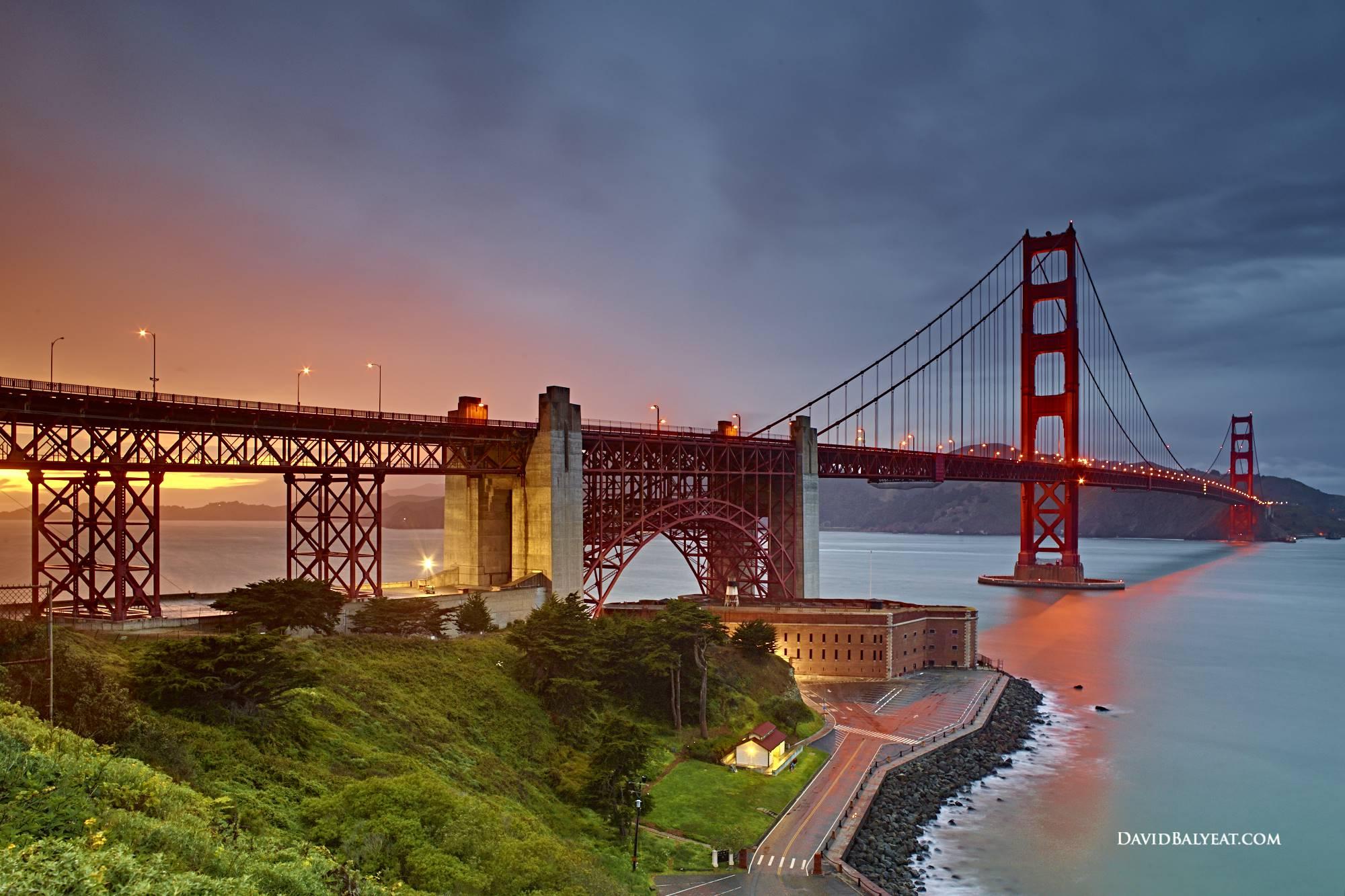 Golden Gate Bridge Sunset San Francisco Bay HD Photography