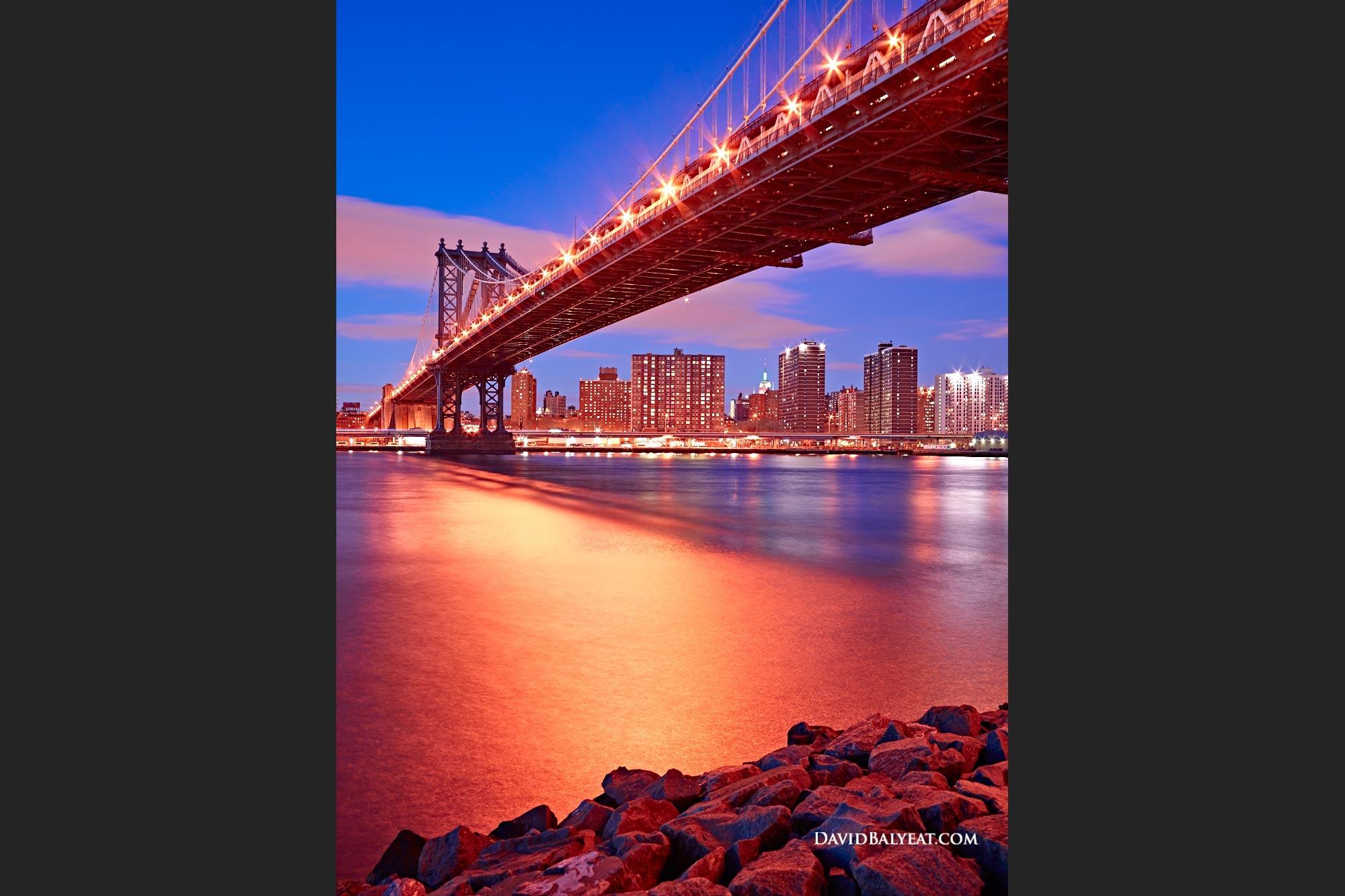 Manhattan Bridge New York City skyline night high definition hd photography
