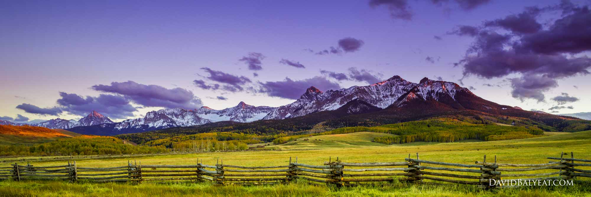 Mountains Colorado panoramic rustic split rail fence high-definition HD professional landscape photography