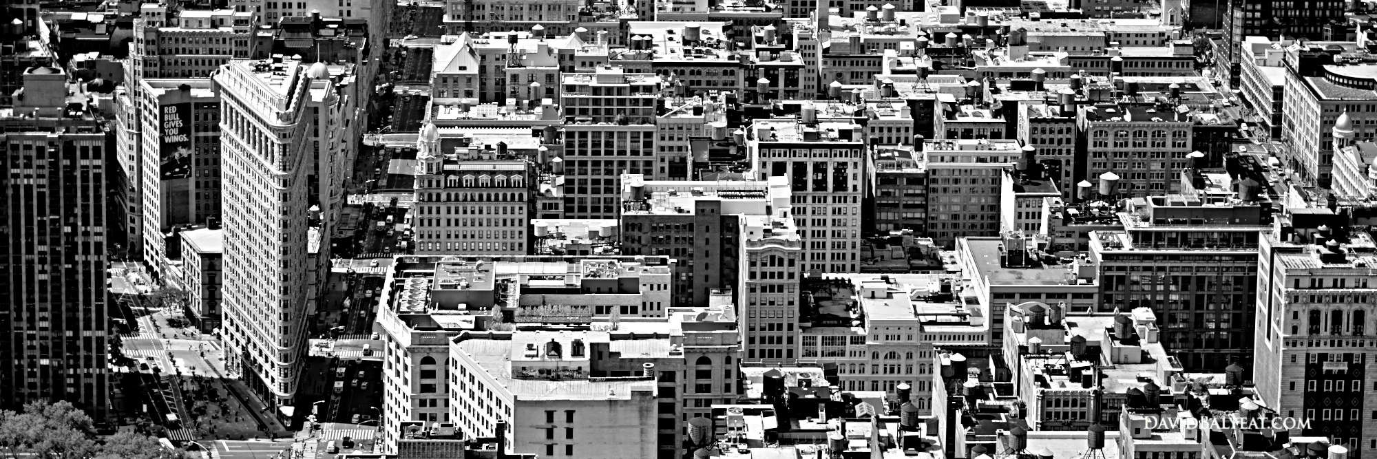 New York City Flatiron building in Manhattan, Panoramic Black and White photography in HD high definition