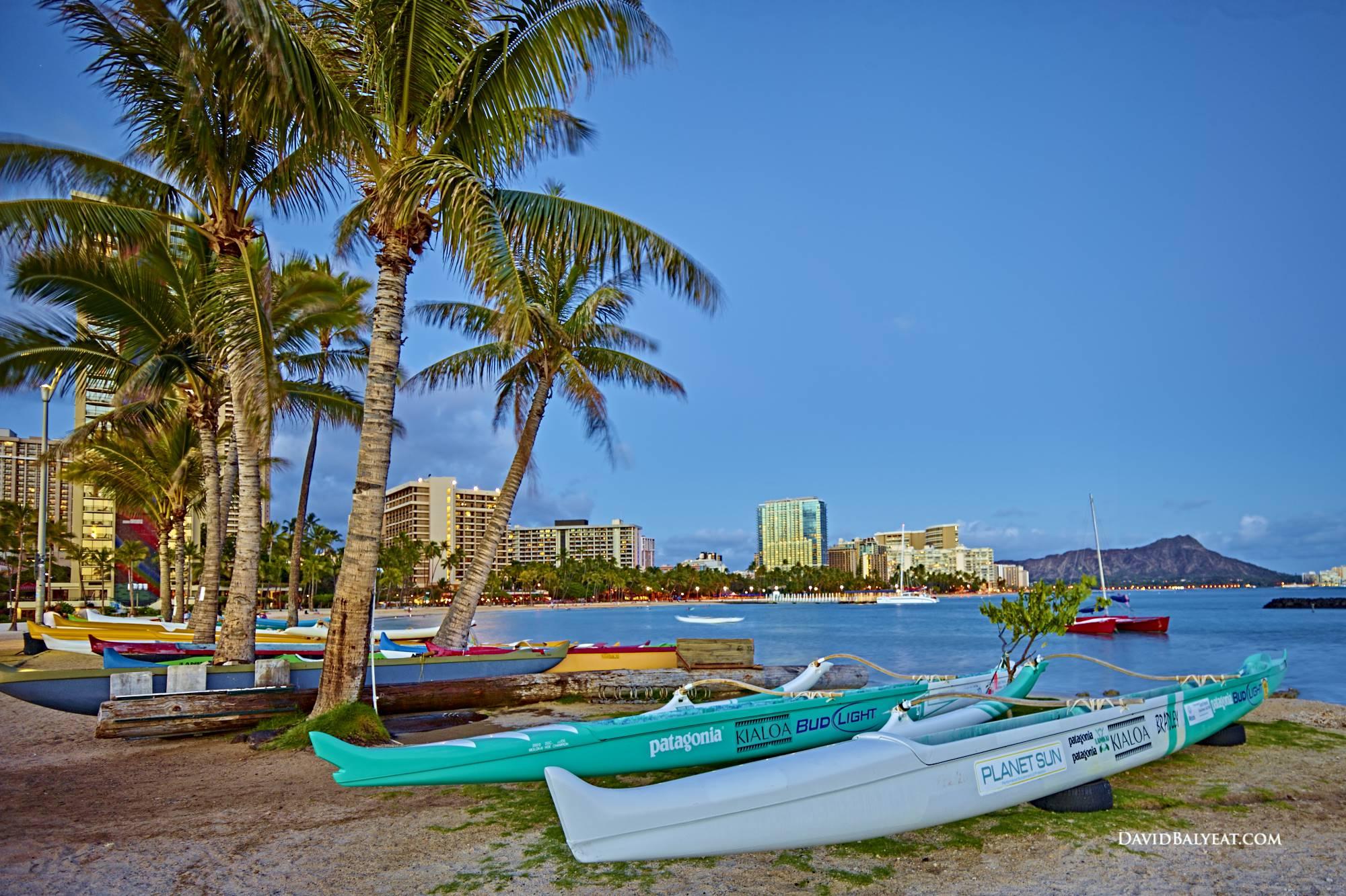 outriggers Waikiki beach Honolulu Hawaii Oahu palm trees hd photography