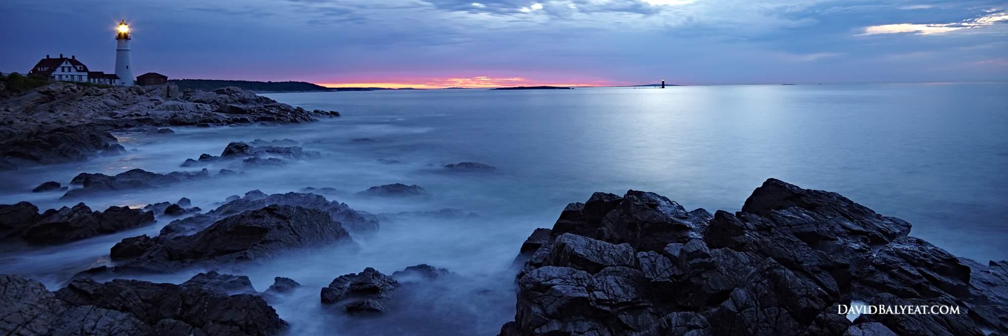 Portland Head Light Maine lighthouses sunrise panoramic high definition HD photography
