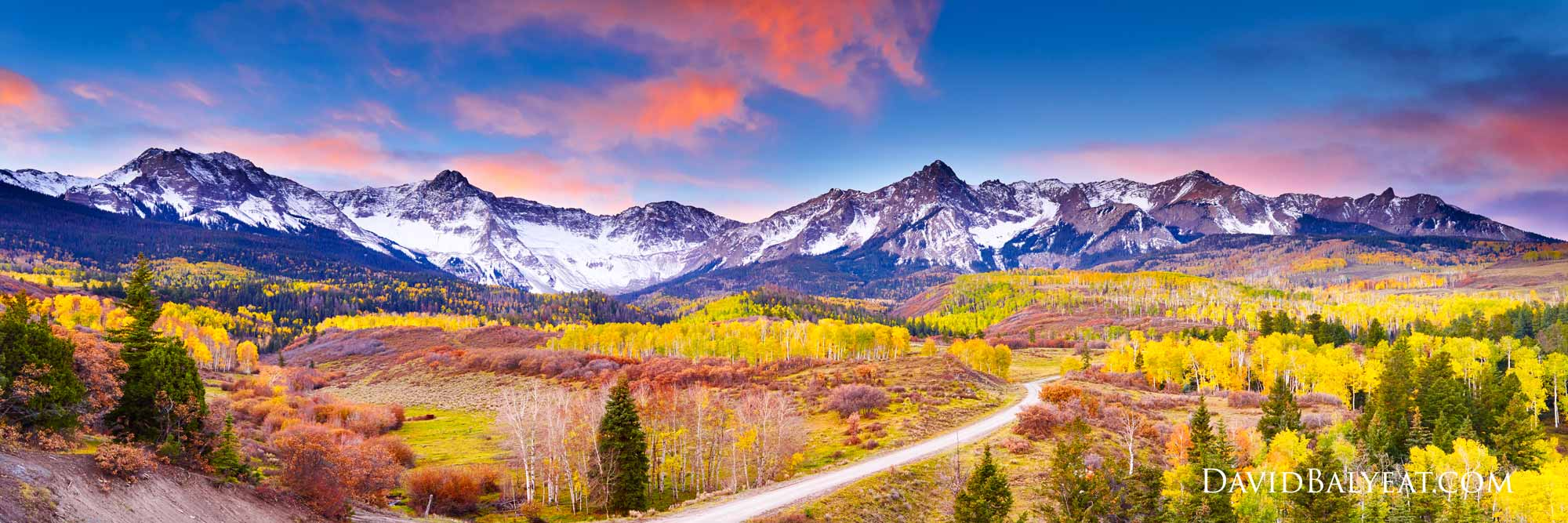 San Juan mountains Colorado Dallas Divide panoramic autumn fall foliage aspens high-definition HD professional landscape photography