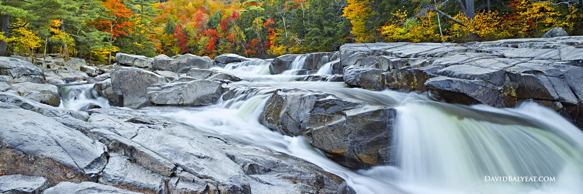 Swift River falls New Hampshire panoramic autumn fall foliage high definition HD photography