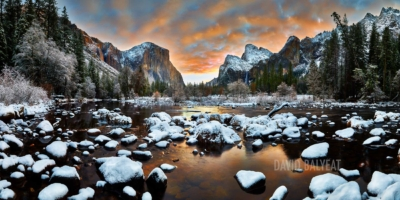 Yosemite National Park ValleyView sunrise snow high-definition HD professional landscape photography